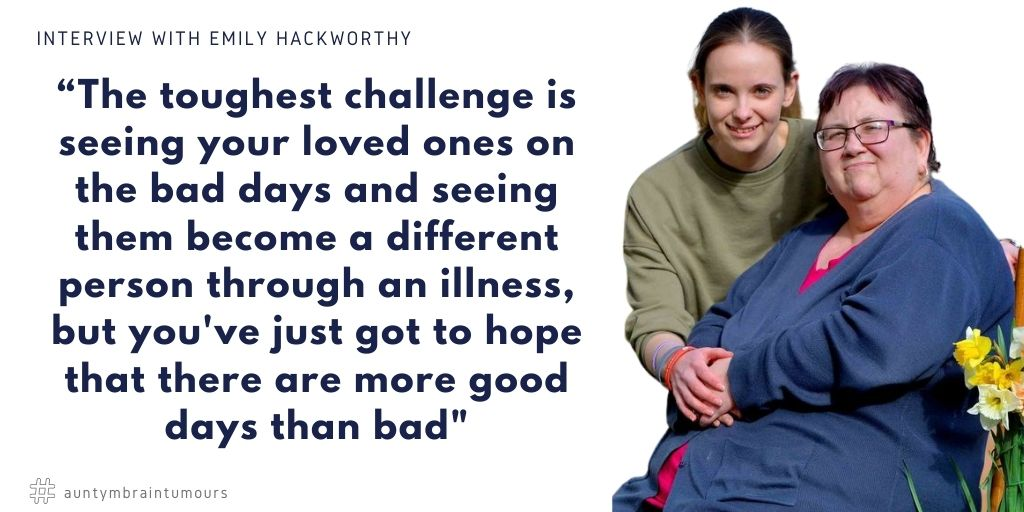 Emily Hackworthy shared her story about when her mother was diagnosed with an Oligoastrocytoma in 2005.