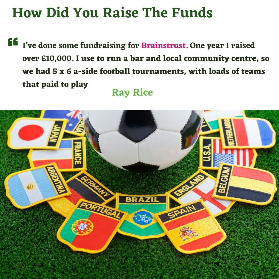 qoute from Ray Rice: I use to run a bar and local community centre, so we had 5 x 6 a-side football tournaments, with loads of teams that paid to play. We had a bouncy castle and food vans there, we also had a raffle. We wrote to a lot of local companies who donated stuff to us like, signed shirts, car rides, fun days out etc. It was a great success!