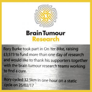I have raised funds by doing a number of things including 'Ride A Bike' challenge three times. I have also got my company involved with 'Wear a Hat Day'