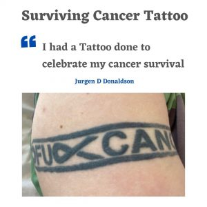 Jurgen D Donaldson was diagnosed cancer lymphatic tumours - he now has a tattoo to celebrate his surviorship
