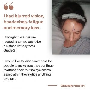 Photo of Gemma Heath post brain surgery and a quote from her interview