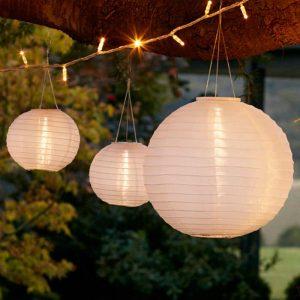 outdoor lanterns - 3 Cloud White Miami Solar Lanterns