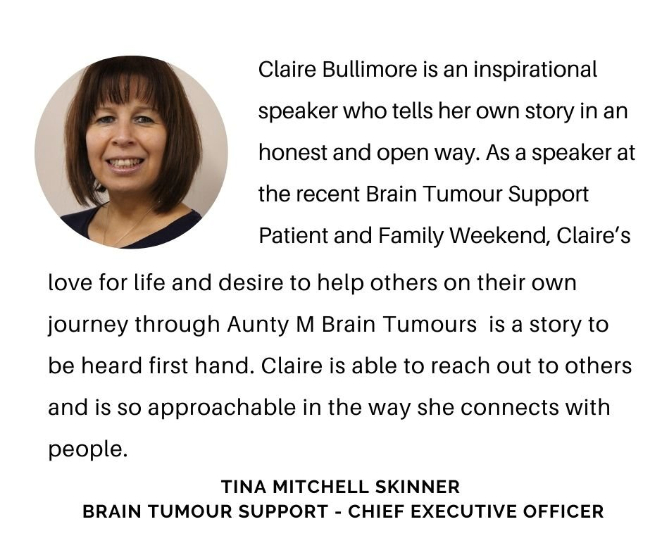 Tina Mitchell Skinner worked with Claire Bullimore and Aunty M Brain Tumours